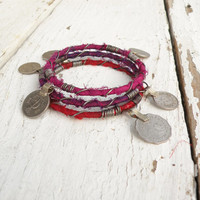 Silk Road Bangle Stack, 3 Piece Set, Tribal Gypsy Coins and Sari Silk, Hot Pink, Purple, Red