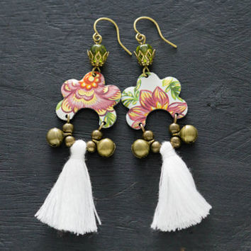 Unusual Tassel Earrings with Floral Tin and Bell Charms, Tassel Jewelry, White Tassel Earrings, Bell Earrings, Gypsy Soul Jewelry.