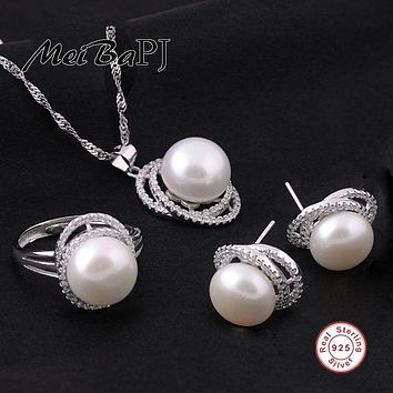 [MeiBaPJ]925 sterling silver pearl jewelry set with folwer pearl pendants necklace stud pearl earrings wedding ring gift box