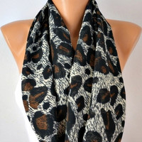 Peacock Leopard - Infinity Scarf Shawl Circle Scarf Loop Scarf  Gift -fatwoman