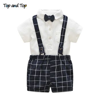 Top and Top Baby Boys Clothing Sets Bow White Rompers  + Plaid Overalls Shorts 2pcs/set  Summer Newborn Gentleman Clothes suit