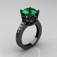 Exclusive Classic 14K Black Gold 3.0 Carat Emerald by artmasters