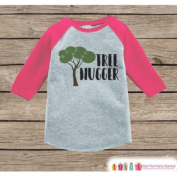 Girl's Tree Hugger Outfit - Pink Raglan Shirt or Onepiece - Kids Baseball Tee - Camp Shirt for Baby, Toddler, Youth - Adventure Clothing