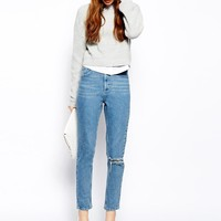 ASOS Farleigh High Waist Slim Mom Jeans in Rosebowl Mid Wash Blue with
