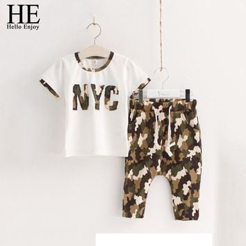 Girls clothing sets Casual Kids clothes set for boys summer camouflage White short-sleeved + children shorts