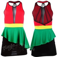 Rasta sleevless mini-dress with form fitting spandex skirt @ RastaEmpire.com