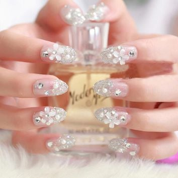 3D False Artificial Fake Nails Tips French Stud Finger Stickers Flower White Pearl Bride Wedding Nail Art Women Beauty Tools