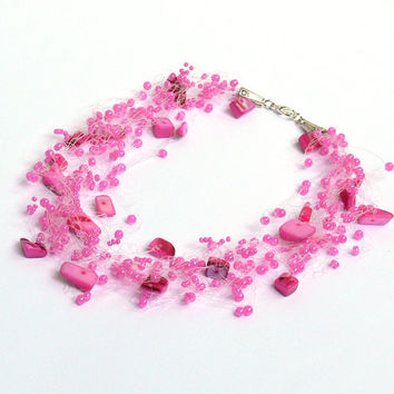 Hot Pink Necklace. Multistrand Necklace. Wedding Necklace. Bridesmaid Necklace. Beadwork.