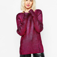 Red Long-Sleeve Knitted Two-Sided Wear Shirt