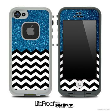 Mixed Blue Sparkled Print and Chevron Pattern Skin for the iPhone 5 or 4/4s LifeProof Case