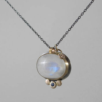 Rainbow Moonstone and Sapphire Necklace * 14k Gold Sterling Silver Mixed Metal * Moon and Star
