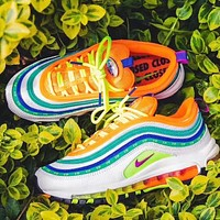 Nike Air Max 97 Fashion Woman Men Casual Air Cushion Rainbow Sport Running Sneakers Shoes