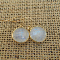 Moonstone bezeled earrings, gold vermeil bezel, trendy, white moonstone, in style, dangle, round earrings, beach chic
