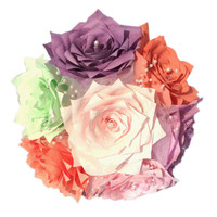 Coral, mint green, blush and purple Rose bouquet, Bridesmaid bouquet, Paper Rose Bouquet, Shabby chic Toss bouquet, coral romantic bouquet