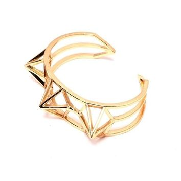 Crowned Energy Gold Cuff  Pyramid Bracelet
