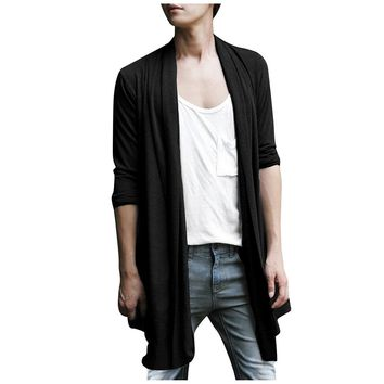 TFGS Men Shawl Collar High-Low Hem Long Cardigan