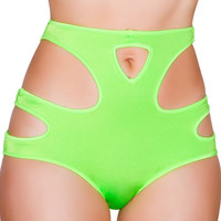 Lime Green Cut Out High-Waisted Booty Shorts