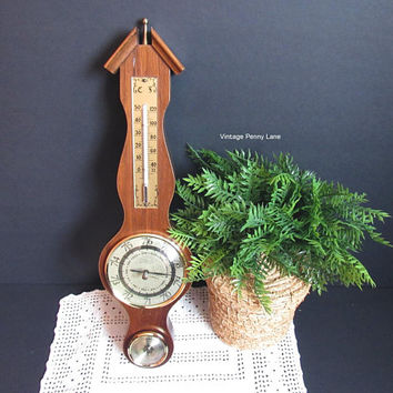 Vintage Brass Barometer Thermometer Hydrometer, Composit Wood and Brass