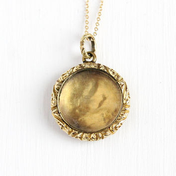 Antique Locket Necklace - Victorian Gold Filled Fob Pendant - Mid 1800s Victorian Sentimental Love Token Glass Charm Brooch Shaker Jewelry
