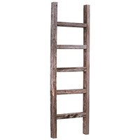 BarnwoodUSA Rustic 4 Foot Decorative Wooden Ladder - 100% Reclaimed Wood, Weathered Gray
