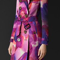 Floral Print Silk Cotton Trench Coat