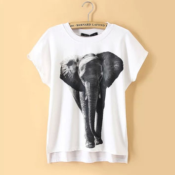 Women Short Sleeve White T Shirt Fashion 3D Printing Elephant Pattern Tee Tops NEW Summer Woman T-shirts Casual Tshirt