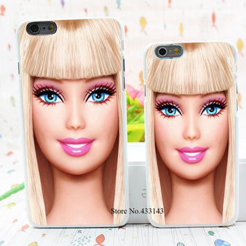 barbie doll face Style Hard White Cover Skin Back Case for iPhone 6 6s 6 plus