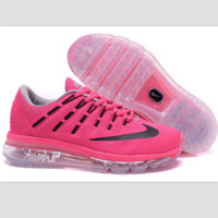"""NIKE"" Trending Fashion Casual Sports Shoes AirMax Toe Cap hook section knited Roses balck hook Transparent soles"