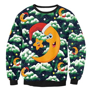 Moon and Star Print Women Christmas Party Sweatshirt