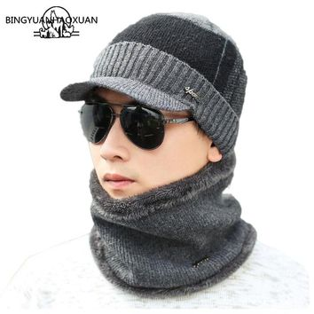 BINGYUANHAOXUAN Winter Hats Skullies Beanies Knitted Hat  Beanies For Men Women Wool Scarf Caps Balaclava Mask Gorras Bonnet