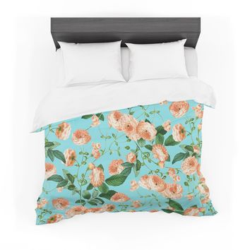 "83 Oranges ""Rosy Life"" Coral Teal Mixed Media Featherweight Duvet Cover"