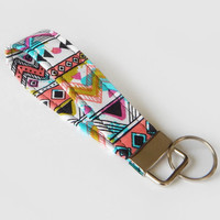 Tribal Print Key Fob / Aztec Print / Funky Keychain / Key Lanyard / ID Badge Holder / Tribal Lanyard / Abstract / Chartreuse / Colorful