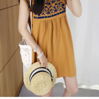 Embroidered Cap Sleeve Dress - Miamasvin loves u! Womens Clothing. Korean Fashion.