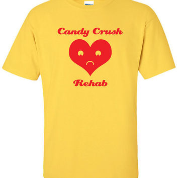 Candy Crush Rehab nerd addicted to video games iPhone iPad funny Printed graphic T-Shirt Tee Shirt Mens Ladies Women Youth Kids ML-064