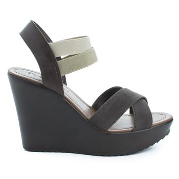 Benny Brown Pu By City Classified, Open Toe Strappy Elastic Ankle Cuff Platform Casual Wedges Shoe