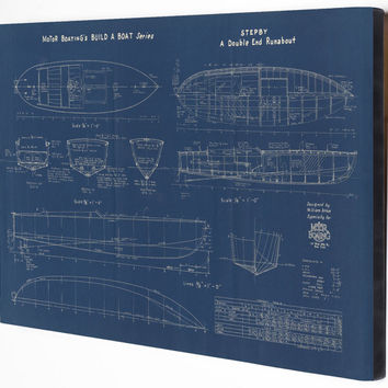 Vintage Nautical Motor Boat  Stepby Runabout Sailing Antique Blueprint Home Decor Printed On CANVAS Wall Art