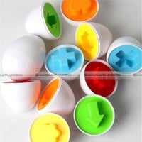6pcs Mixed Shape Pretend Smart Eggs Baby Kid Toys Matching Toys Eggs Toys 70517044 KTK