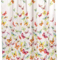 """Shannon"" Butterfly Print Fabric Shower Curtain"