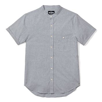 BAND COLLAR SHORT SLEEVE, GREY CHAMBRAY