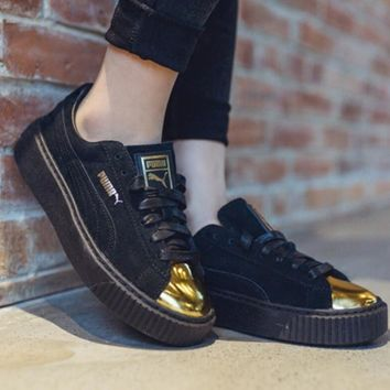 """PUMA"" Suede Platform Shiny golden toe cap Women Casual Running Sport Shoes Sneakers B"