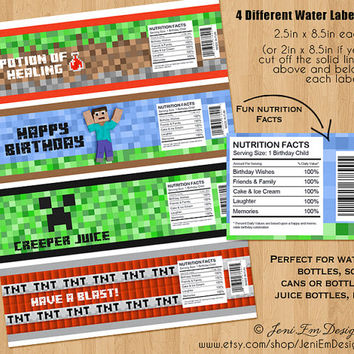 Minecraft Water Bottle Labels, Printable