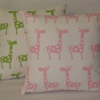 Set of 4 white and pink throw pillows giraffe 16 by kirtamdesigns