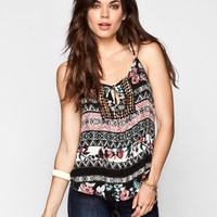 H.I.P. Womens Crochet Inset Tank Multi  In Sizes