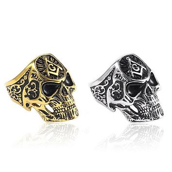 Golden & Silver Skull Freemasonry Masonic Vintage Gothic Ring