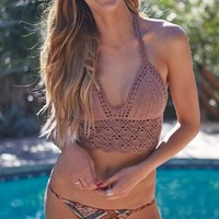 LA Hearts Crochet Halter Bikini Top - Womens Swimwear - Brown