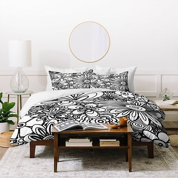 Madart Inc. All Over Flowers Black White Duvet Cover