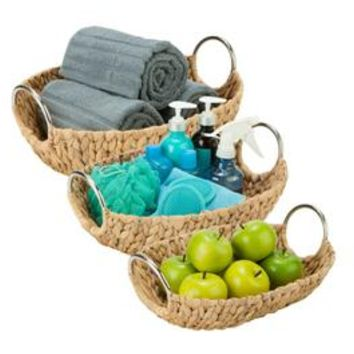Honey-can-do STO-04467 3-Piece Set Water Hyacinth Baskets, Oval