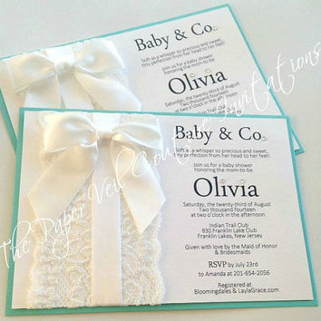 Tiffany Vintage Lace and Bow Invitation - Tiffany blue and White - Girl or Boy - Baby Shower, Bridal shower or Wedding