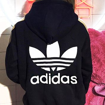 Adidas Fashionable Women Men Casual Print Embroidery Hoodie Sweater Top Sweatshirt Black