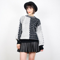 Vintage Black and White Sweater 1980s 80s Sweater New Wave Jumper Op Art Color Block Pullover Cosby Sweater Mod Chunky Knit M Medium L Large